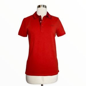 Burberry Women's Orange Short Sleeve Polo Shirt